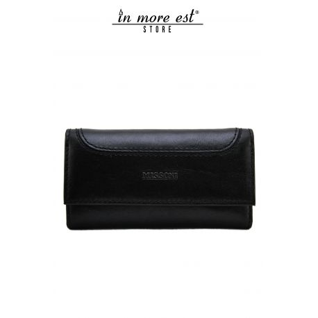 POUCH PATTE BLACK LEATHER ENGRAVED LOGO MISSONI