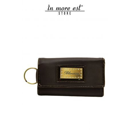 KEYCHAIN BROWN CALF TRIM PAINT MARR GLOSSY INNER ZIP CLOSURE COIN PURSE PLAC METAL BRONZE LOGO BLUMARINE AND SW