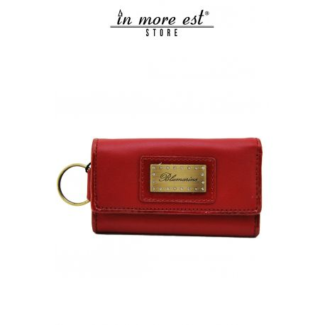 KEYCHAIN CALF RUBY RED EDGING RED PAINT GLOSSY, INNER ZIP CLOSURE COIN PURSE PLAC METAL BRONZE LOGO BLUMARINE AND SW