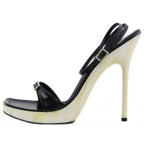 SANDAL HIGH BLACK HEEL/BOTTOM-OF-PEARL