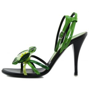 SANDAL UPPER BLACK PAINT GREEN FLOWER GREEN GLASS