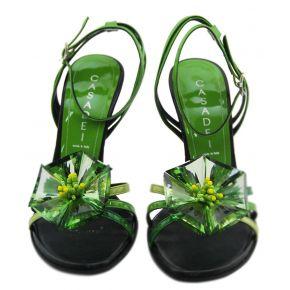 SANDAL UPPER BLACK PAINT GREEN FLOWER GREEN GLASS