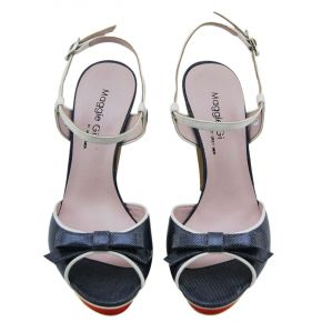 SANDAL HIGH PLATEAU BOW VERN JEANS WHITE LEATHER PLATEAU RED HEEL WOOD
