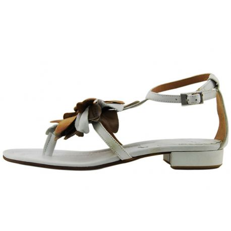 FLAT SANDAL WHITE LEATHER FLIP FLOPS FIOR5E BROWN LEATHER