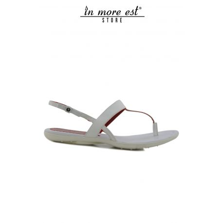 FLAT SANDAL LEATHER WHITE/RED FLIP FLOPS BOW SIDE OF THE PLATE PACIOTTI