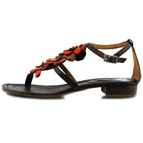 FLAT SANDAL BROWN LEATHER FLIP FLOPS FLOWER LEATHER ORANGE