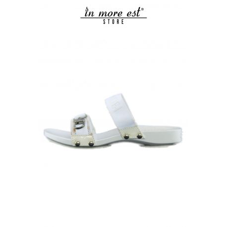SANDAL WHITE BANDS OF TISSUE BIUANCO THE BOTTOM OF THE WOOD LACC WHITE ACC METAL ARG LOGO CASADEI