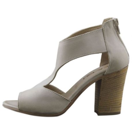SANDAL WITH HEEL LEATHER DOVE GREY