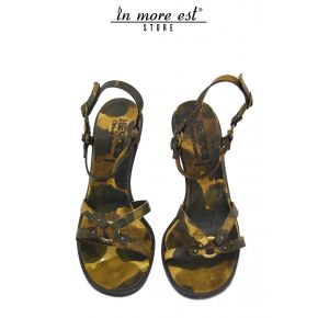 SANDAL MEDIUM CAMOUFLAGE CALF PLACC METAL GOLD