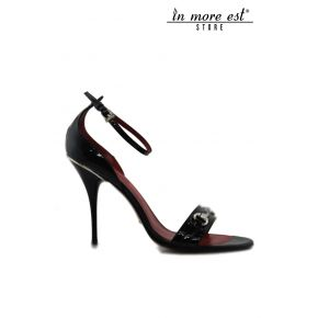 SANDAL MEDIUM GLOSS BLACK LACING ANKLE FINISH SILVER EDGE HEEL PLATE SILVER WITH BLACK SPOTS BAND NEXT