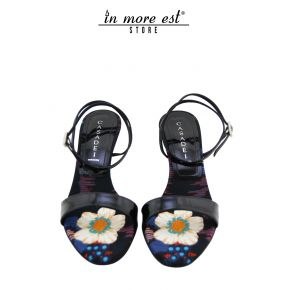 SANDAL MEDIUM BLACK/FLOWERS MULTIC BLACK PAINT PRINTED FABRIC