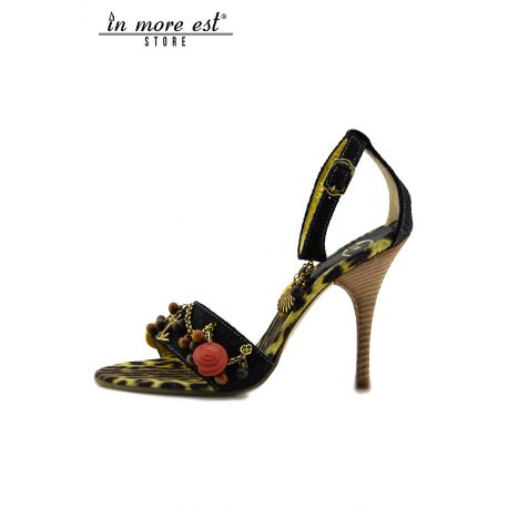 SANDAL MEDIUM BLACK LEATHER CHARMS CHAIN METAL BRASS INSOLE SPOTTED