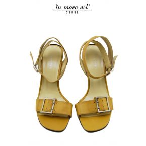 SANDAL MEDIUM CALF BEIGE BUCKLE METAL ARG SATIN ALLAC ANKLE
