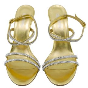 SANDAL MEDIUM CALF GOLD LAMINATED STRAPS SW