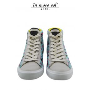 HIGH-TOP SNEAKERS LEATHER GREY PATTERNED PRINT BLUE
