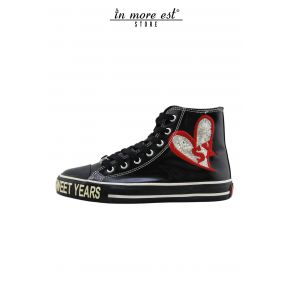 HIGH-TOP SNEAKERS BLACK LEATHER LUCID BOTTOM BLACK RUBBER LOGO SY GLITTER