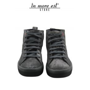 HIGH-TOP SNEAKERS CALFSKIN LAM SILVER BOTTOM BLACK RUBBER