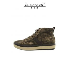 HIGH-TOP SNEAKERS CALFSKIN LAM GOLD BOTTOM RUBBER BEIGE