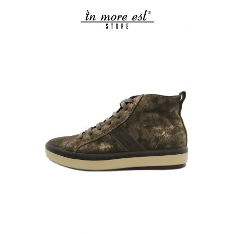 HIGH-TOP SNEAKERS EN CUIR DE VEAU LAM OR FOND EN CAOUTCHOUC BEIGE