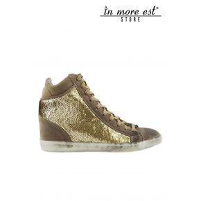 HIGH-TOP SNEAKERS WEDGE INSIDE SUEDE TAUPE GOLD SEQUINS