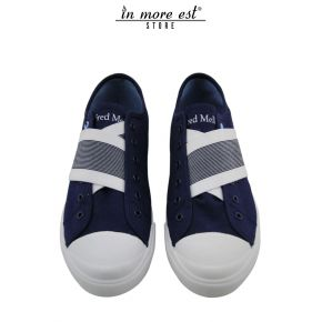 SNEAKER LOW-BLUE/WHITE DIAGONAL SASH WITHOUT LACES