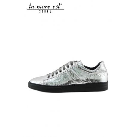 SNEAKERS LOW LEATHER SILVER LAMINATED
