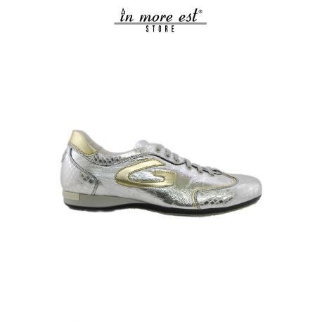 ALLAC CASUAL LOW SILVER LAMINATED LEATHER TRIMS AND GOLD