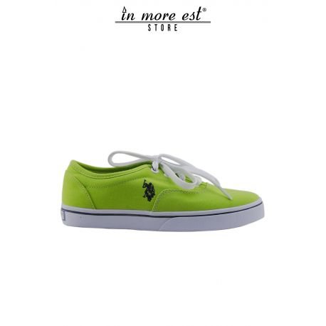 SNEAKERS LOW FABRIC LIME WITHOUT LACE-UP BOTTOM OF CREPE RUBBER B IANCA LOGO POLO EMBROIDERED BLUE