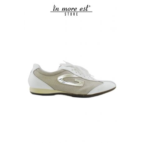 ALLAC CASUAL LOW-WHITE PAINT CANVAS TAUPE G LOGO LAMIN BRONZE