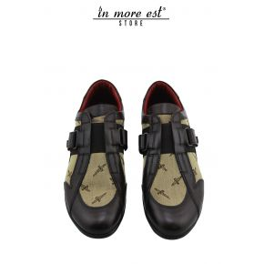 ALLAC CASUAL LOW-CALF MARR AND BEIGE FABRIC WITH LOGO PAGIOTTI BUCKLE CLOSURE STRAP