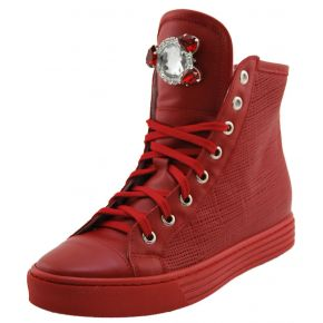 SNEAKERS WITH INNER WEDGE RED LEATHER BROOCH STONES