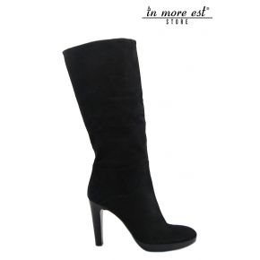 BOOT KNEE HEEL MEDIUM SUEDE BLACK