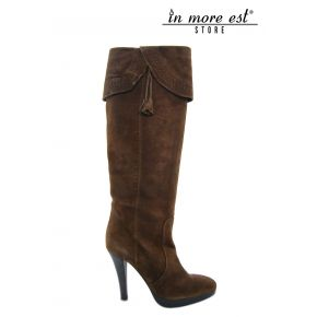 HIGH BOOT HIGH UPPER BROWN SUEDE