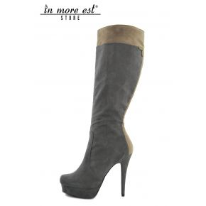 HIGH BOOT HIGH UPPER PLATEAU GREY SUEDE AND TAUPE
