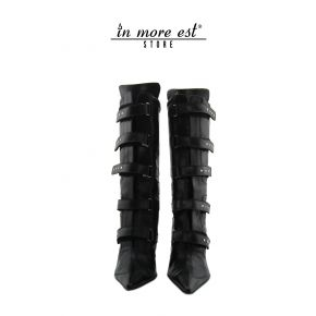 HIGH BOOT BLACK POINTED LEATHER MICROTRAFORATA LEG AND MIDDLE BUCKLES TO THE STRAP ALL OVER THE LEG STUDS, METAL SILVER BUCKLES