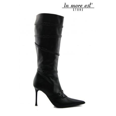 HIGH BOOT BLACK POINTED CALF BUCKLES METAL BURNISHED HIGH UPPER