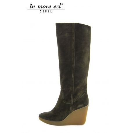 HIGH BOOT WEDGE HIGH UPPER SUEDE GREEN VIPER