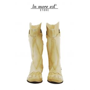 LOW BOOT BEIGE LEATHER/CANVAS BOOT-LEG MEDIUM-PLAC/BUCKLE/STUDS METAL BRONZE