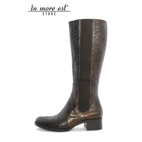 LOW BOOT LEG HIGH LEATHER COCONUT BROWN LEG-SIDE ELASTIC