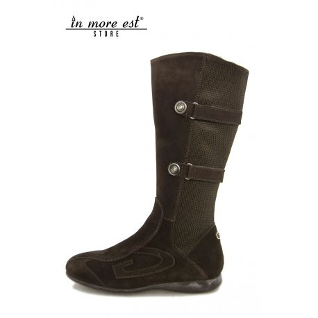 LOW BOOT HIGH UPPER SPORTS BROWN SUEDE CANVAS BLACK/BROWN BUCKLES IN THE LEG