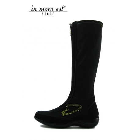 LOW BOOT BLACK SW GREEN SUEDE/TESS.ELAST HIGH UPPER STITCHING GREEN G LOGO SIDE SW GREEN
