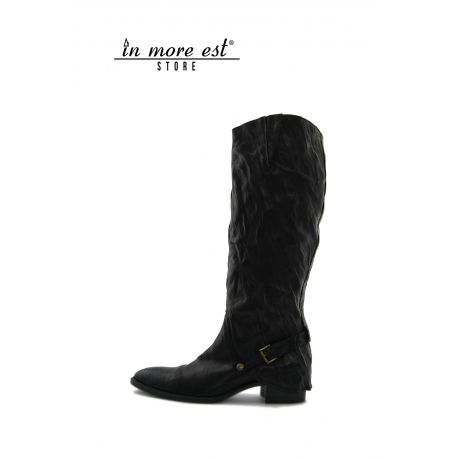 LOW BOOT BLACK CALF WRINKLED BUCKLE METAL BRONZE HIGH UPPER