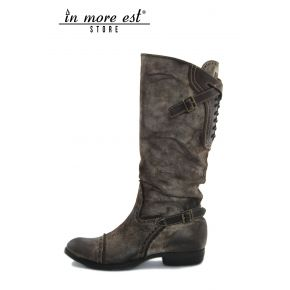 LOW BOOT BROWN LEATHER FADED WHITE HIGH UPPER ALLAC LACE-UP BACK POLP BUCKLES METAL BRONZE