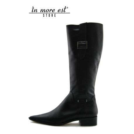 LOW BOOT BLACK POINTED CALF HIGH UPPER BUCKLE METAL FRAME LOGO GUESS