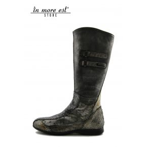 LOW BOOT SPORTS ROLLED VEAL/COCONUT/REPTILES LAMINATED SILVER/BRONZE PLAC METAL ARG LOGO AG