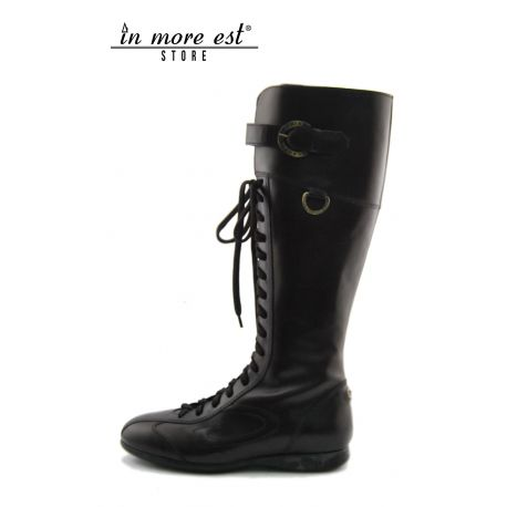 LOW BOOT SPORTS A BROWN CALFSKIN LACE-UP ALL POLP HIGH UPPER BUCKLE METAL FRAME LOGO AG