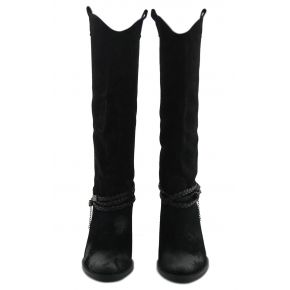 THE BOOT MEDIUM KNEE SUEDE BLACK