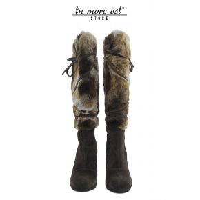 BOOTS MEDIUM-LEG HIGH SUEDE MARR FUR LOGO GUESS THE SW