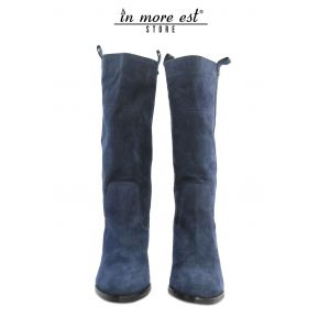BOOT, MEDIUM LEG MEDIUM BLUE SUEDE