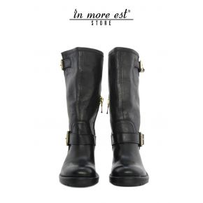THE BOOT MEDIUM-LEG SLEEVE MEDIUM BLACK CALF BUCKLES METAL GOLD BOTTOM RUBBER CARARMATO